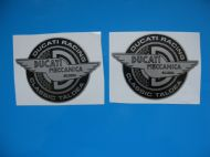 DUCATI MECCANICA Classic Motorcycle Black/Silver stickers/decals x 2